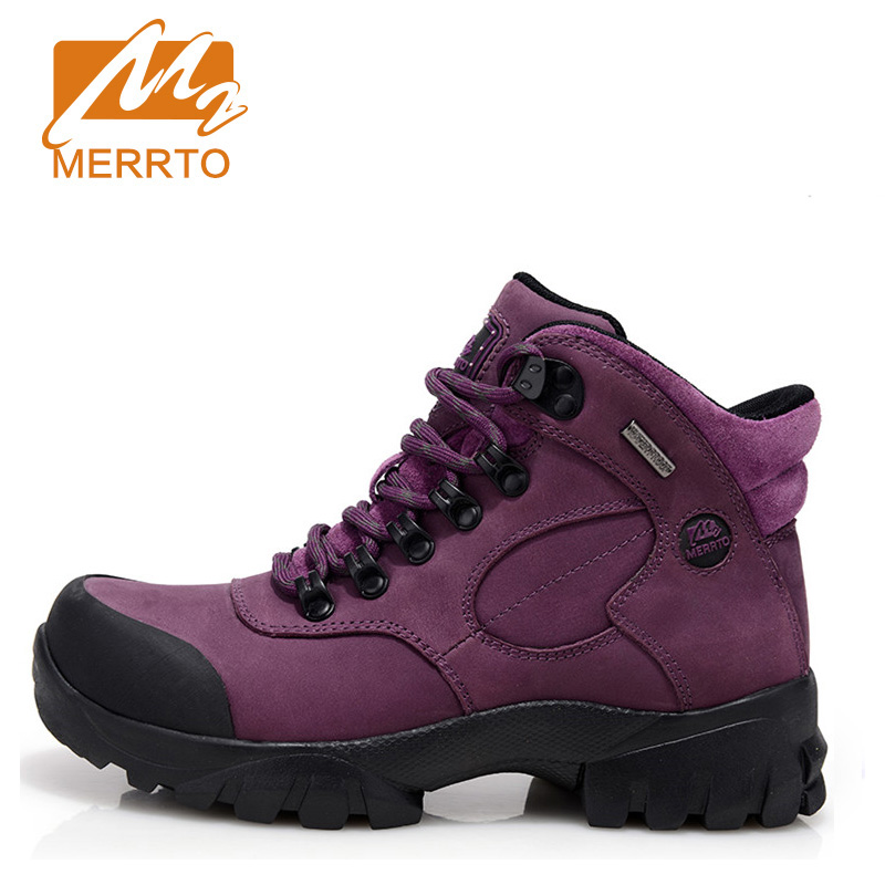 2018 Merrto Womens Hiking Boots Waterproof Outdoor Climbing Mountain Sports Shoes Suede Leather For Women Free Shipping 18001 2017 merrto womens fleece hiking jackets mountain clothing thermal color blue pink rose green for women free shipping mt19155