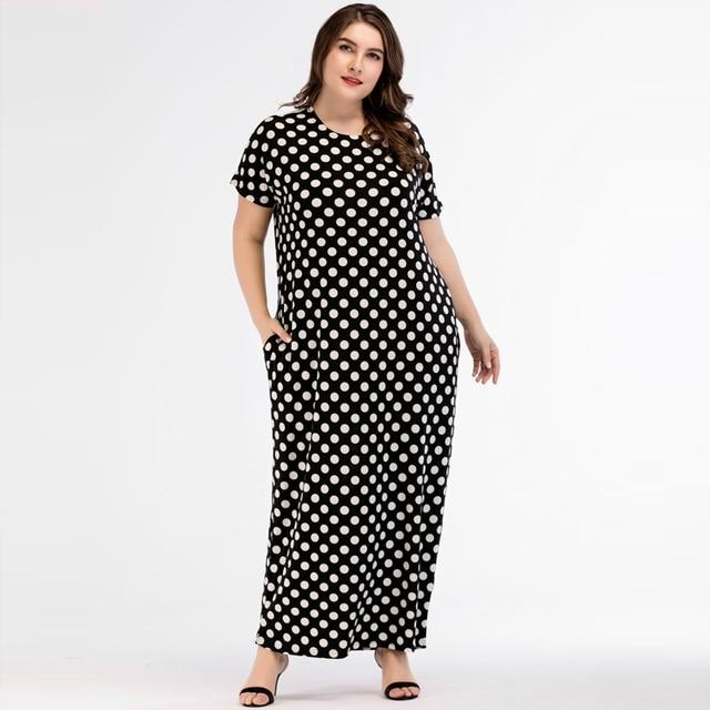 Women Polka Dot Plus Size Summer Abaya Muslim Dress Islamic Arabic ...
