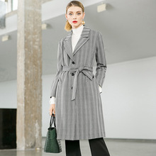 цена на Plaid turn down collar single breasted slim a line long trench coats 2018 new full sleeve office lady women autumn trench coats