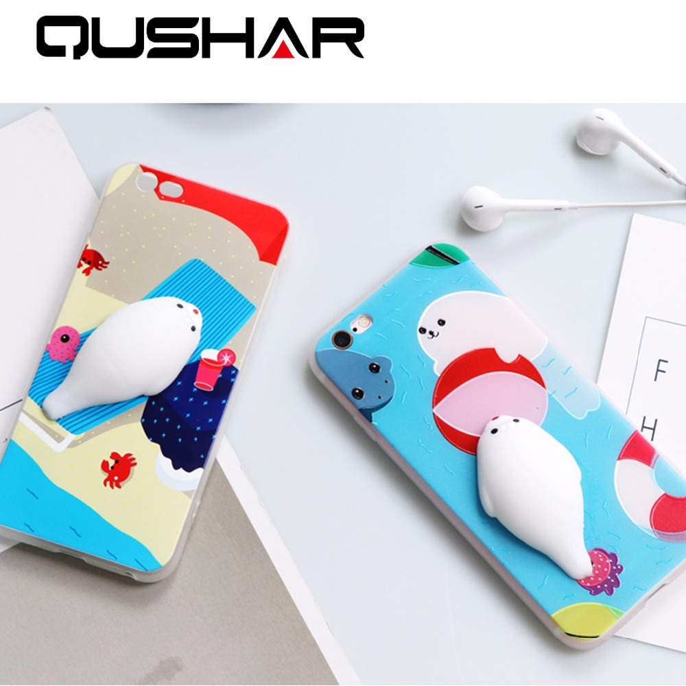 Iphone 6 squishy case - Qushar Cute 3d Cartoon Cat Case For Apple Iphone 6 6s 7 Plus Squishy Phone Case