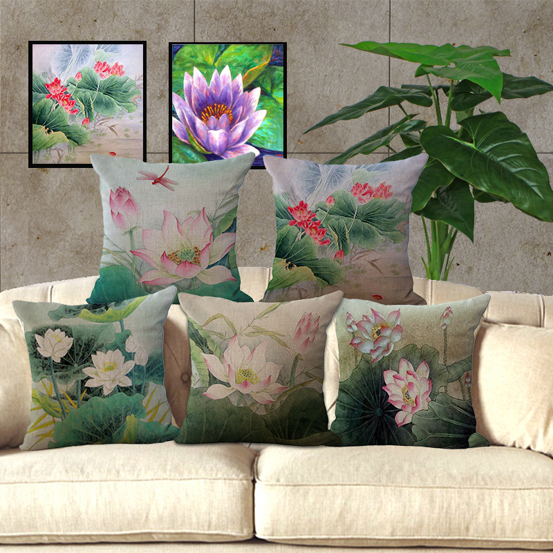 Wholesale Price Lotus Series Painting Seat Cushion