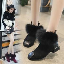 Обувь с мягким ворсом, женские туфли-лодочки 2018, большой размер, женская обувь на каблуке, круглый носок, мех, дизайнерская женская зимняя