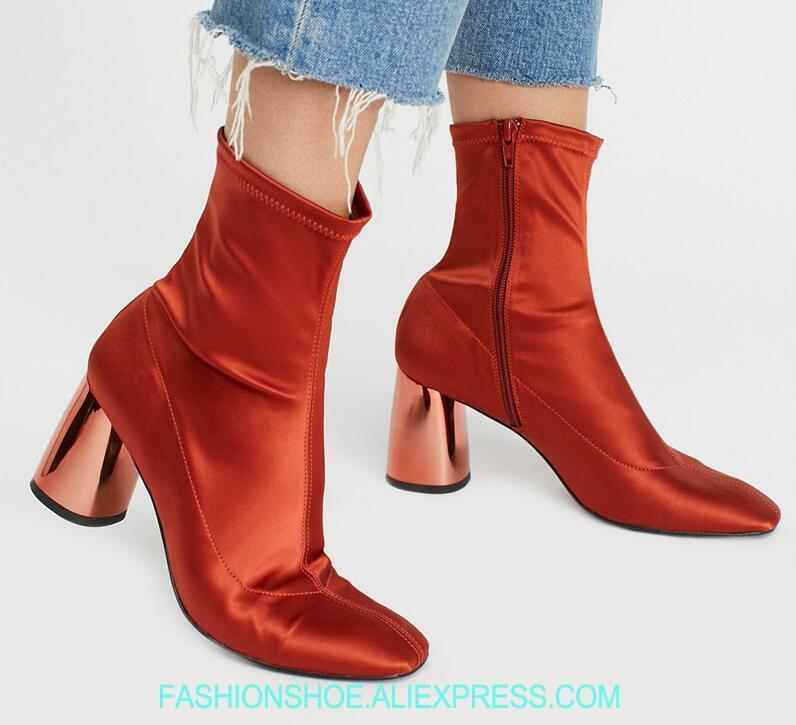 2018 Fashion High Heel Boots Mirror Laser Chunky Heel Ladies Knight Boots Hot Orange Red Fabric Women Sexy Ankle Boots Size 42 все цены
