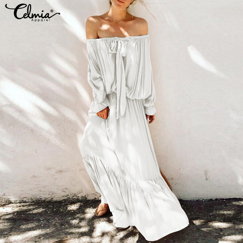 Vintage Casual Women Ruffles Hem Dress Celmia Loose Solid Sexy Cold Shoulder Long Sleeve Maxi Dress Plus Size Vestidos Robe 5XL