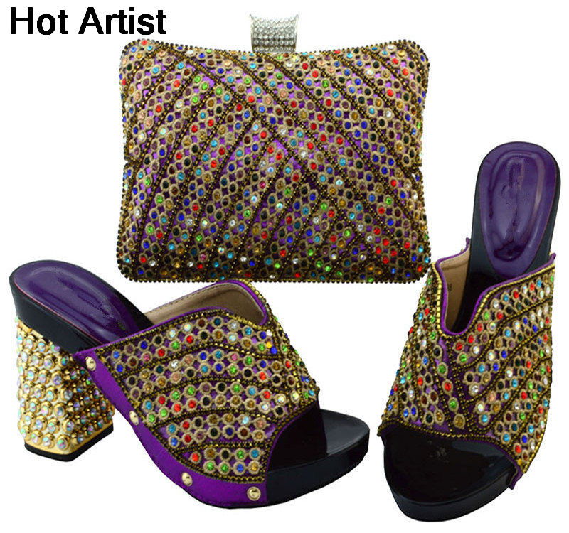 Hot Artist Nigeria Style Elegant Shoes And Bag Set Summer Fashion Rhinestone Woman Heels Shoes And Bag Set For Party YM0051 hot artist summer style africa woman shoes and bag set hot selling fashion slipper shoes and purse set for party bl425c