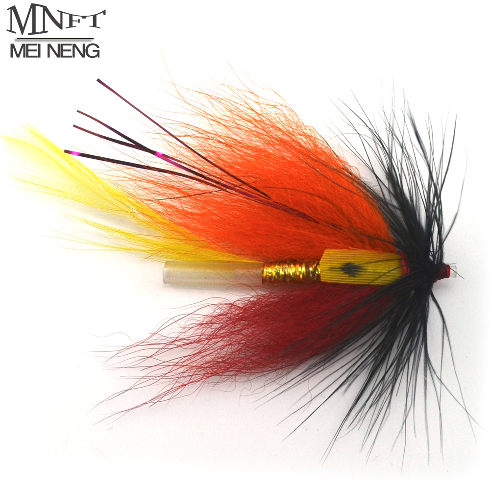 MNFT 4PCS/Lot Grizzly Tube Blood Orange Feather Fishing Flies Fishing Dry Fly Lures For Carp Bait Artificial