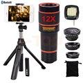 12X Zoom Telefoto Lente ojo de Pez Gran Angular Macro Lentes Telescopio Del Teléfono lentes para el iphone 5 5s 6 6 s 7 plus xiaomi clips trípode
