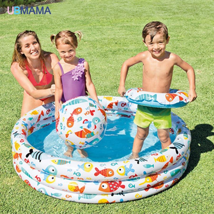 Dejligt Oppustelig Svømning Vand Pool Pakke Spædbarn Barn Hjemmebiograf Bassin Legeplads Badestue + Bold + Svømmebånd