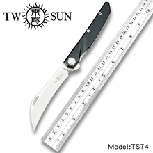 TwoSun D2 Blade Folding Pocket Knife tactical knife Survival knives camping hunting outdoor EDC ball Bearings Fast Open G10 TS74 цены