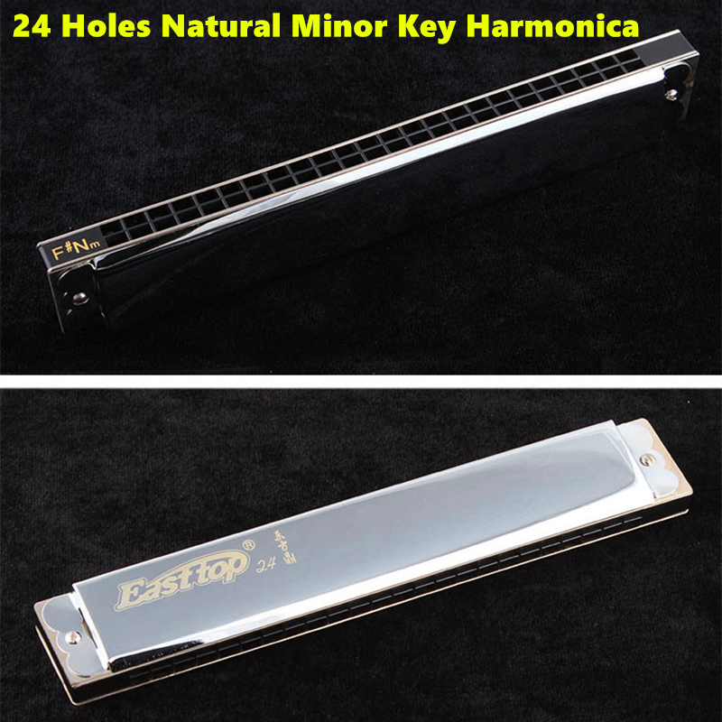 24 Holes Natural Minor Key Harmonica Tremolo Armonica Easttop Mouth Ogan Instrumento Musical 24 Hole Natural Minor Key Harmonica mini 10 hole c tone harmonica black golden