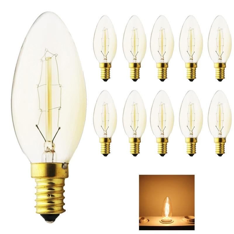 10xDimmable 40W Carbon Art antique style light bulbs Tungsten vintage Edison lamp G35 Warm White E14 220V Halogen Bulbs Lighting