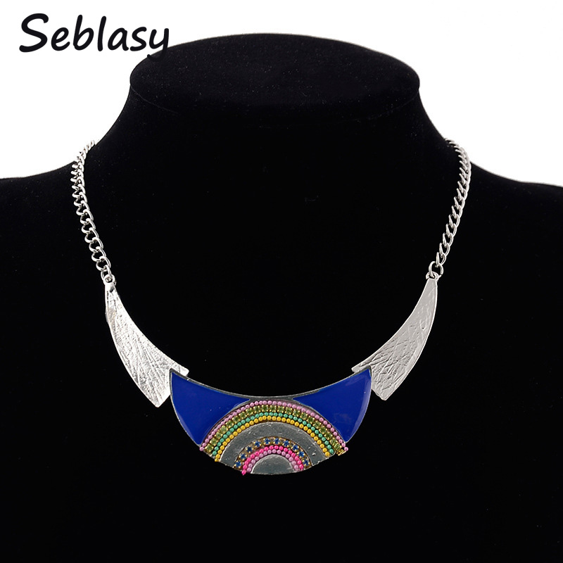 Seblasy Maxi Big Statement Beads Rainbow Moon Choker Necklaces & Pendants for Women Tribal Jewelry Tibet Silver Color Bijoux