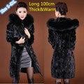 Abrigo de piel prendas de Vestir Exteriores Femenina Cuello de piel de Zorro Con Capucha X-larga diseño de Las Mujeres 2016 Abrigo de Invierno Espesar Caliente de Piel De Visón Superior chaqueta