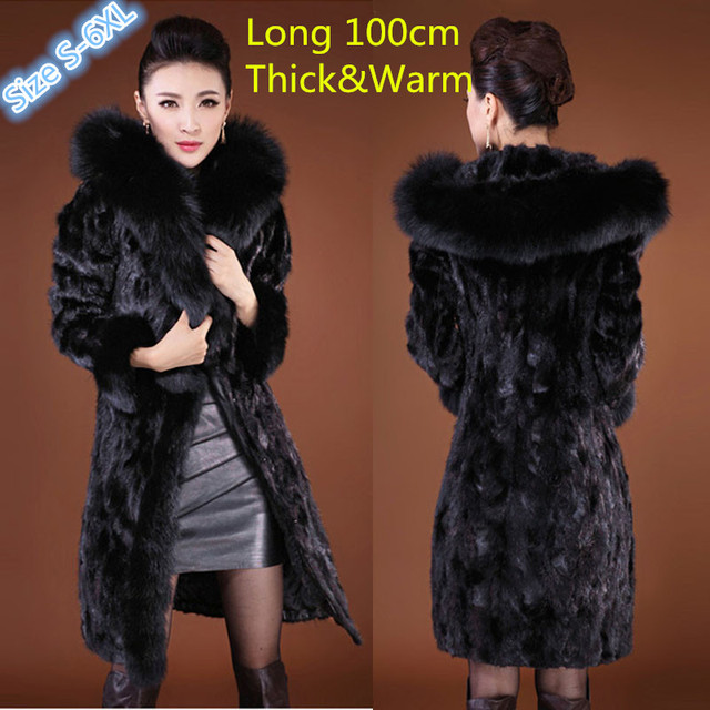 Fur Coat Female Outerwear Fox Fur Collar With Hooded X-Long Design Women's 2016 Winter Overcoat Thicken Warm Top Mink Fur Jacket