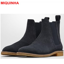 MIQUINHA Men Ankle Boots Short Booties Star Runway Cool Shoes Fashion Sewing Elastic Design Low Heel European Style Luxury Brand