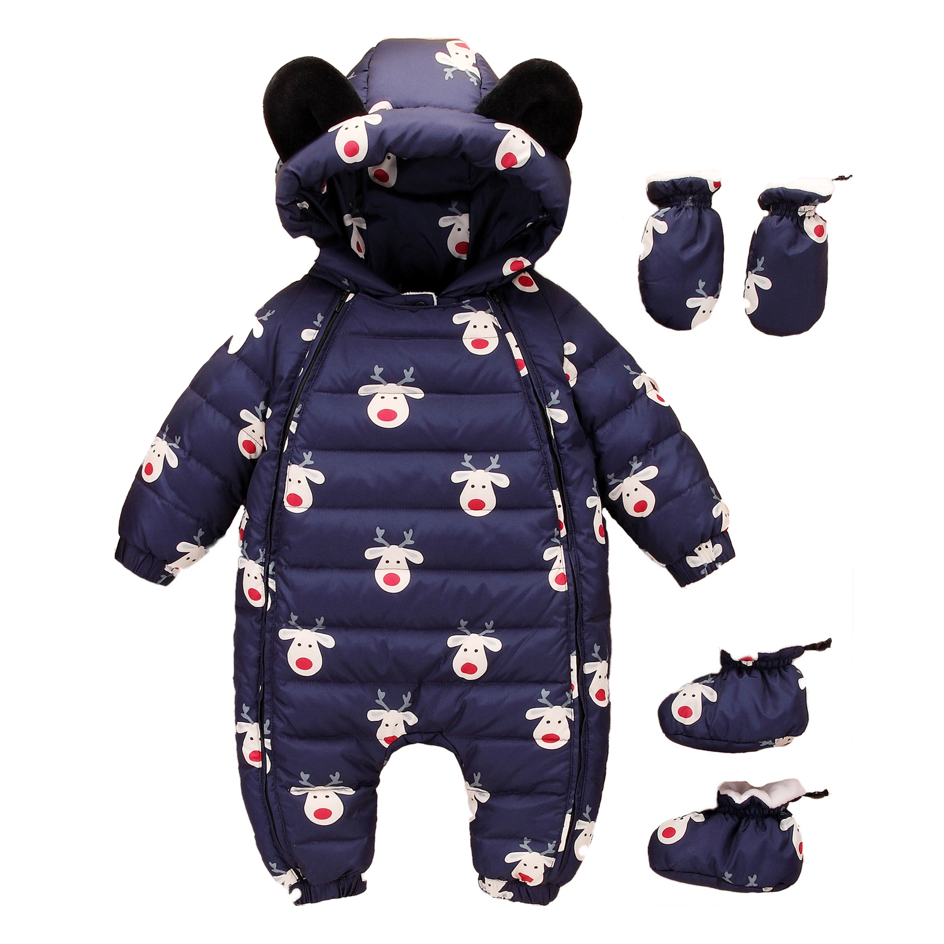 BINIDUCKLING 2018 NEW Baby Rompers Winter Down Thick Warm Baby boy Clothing Hooded Jumpsuit Kids Newborn Outwear 3PICS Carton 2017 new baby rompers winter thick warm baby boy clothing long sleeve hooded jumpsuit kids newborn outwear for 0 12m baby girls