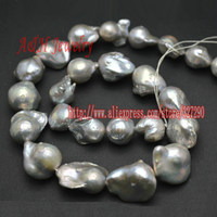 Grade AAA Natural Fresh Water Gray Silver Color Pearls Baroque Style Pearl For Jewelry Making Materials 2strand/lot