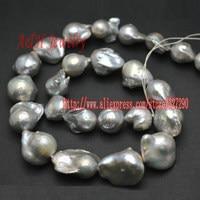 Qualité AAA naturel d'eau douce gris couleur argent perles de Style Baroque pour les bijoux fabrication de matériaux 2 brin / lot