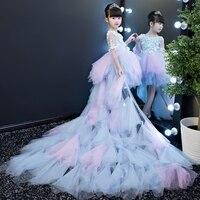 Обувь для девочек Свадебные платья Big Sister платье макси Little Sister миди платье модные детские платье принцессы розовый Пианино костюм для высту