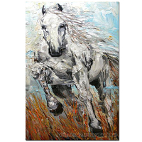 Professional Artist Design and Handmade High Quality Abstract Running Horse Oil Painting on Canvas White Horse Canvas Painting