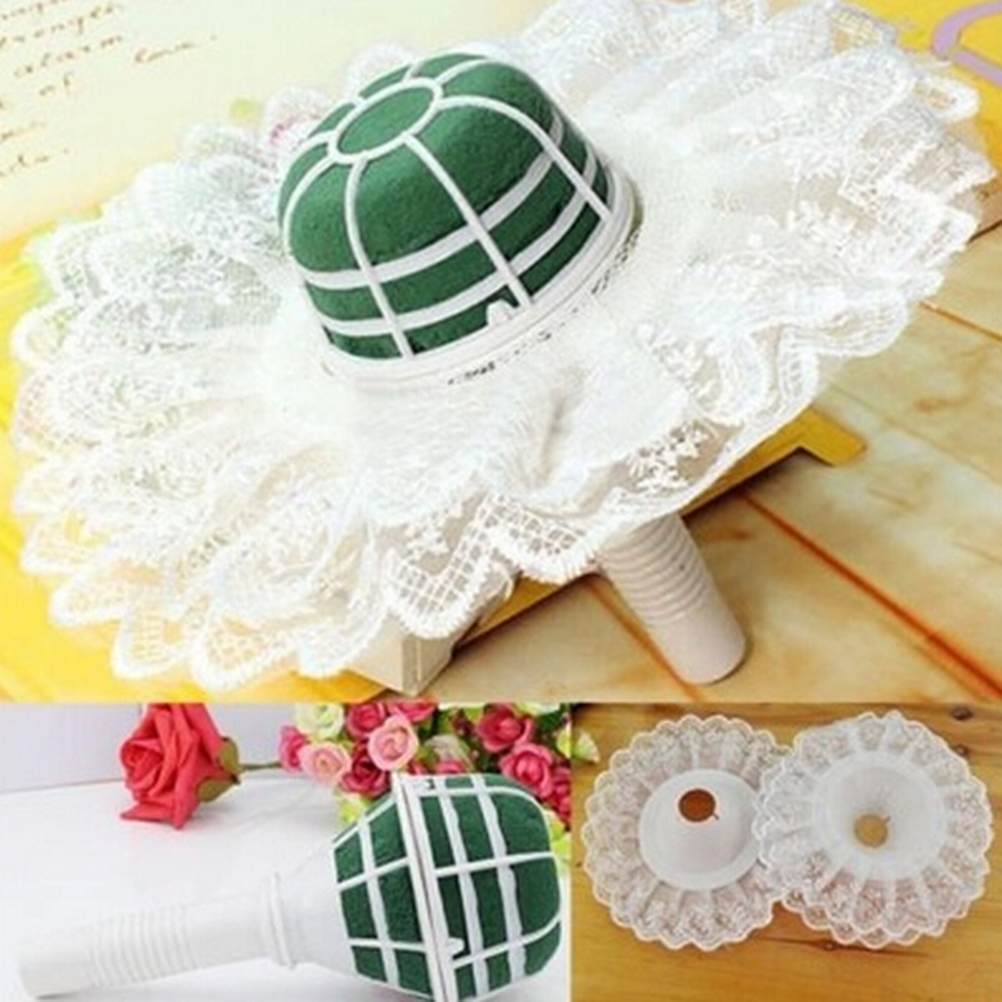 1Set Handle White Lace Collar Flower Holders Wedding Bridal Bride ...