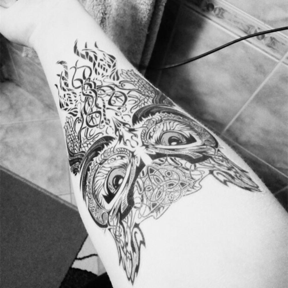 Blue-Eyes-Owl-Temporary-Tattoo-Body-Art-Flash-Tattoo-Stickers-12-20cm-Waterproof-Henna-Tatoo-Car