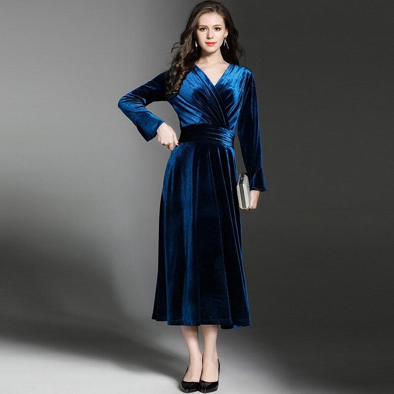 68972331b Mujeres Fiesta Con Gran Largo En Péndulo Las Invierno Vestido Noche Azul  Maxi Pavo Azul V ...