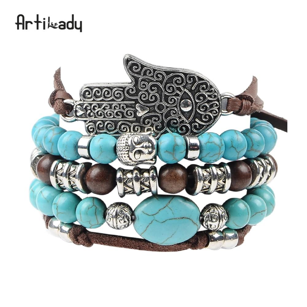 Artilady új hamsa kéz 5db készlet bőr karkötő boho kék kő - Divatékszer