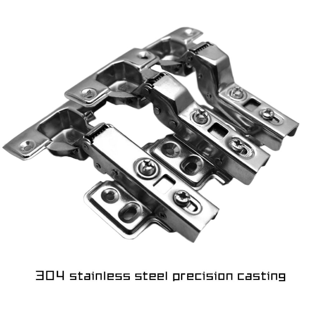 2Pcs Stainless Steel Hydraulic Hinge Damper Buffer Cabinet Cupboard Door Hinges Soft Close Furniture Hardware stainless steel door hinges hydraulic buffer automatic closing door spring hinge 125 78mm furniture cabinet drawer hardware