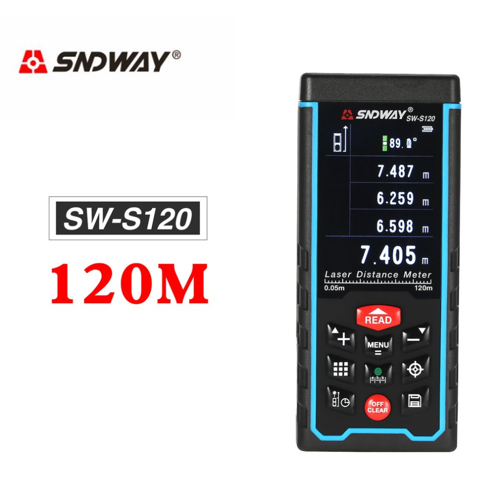 SNDWAY SW-S80/120 80/120M Handheld Laser Distance Meter Range Finder Trena Laser Tape Measure Distance Tool RangefinderSNDWAY SW-S80/120 80/120M Handheld Laser Distance Meter Range Finder Trena Laser Tape Measure Distance Tool Rangefinder