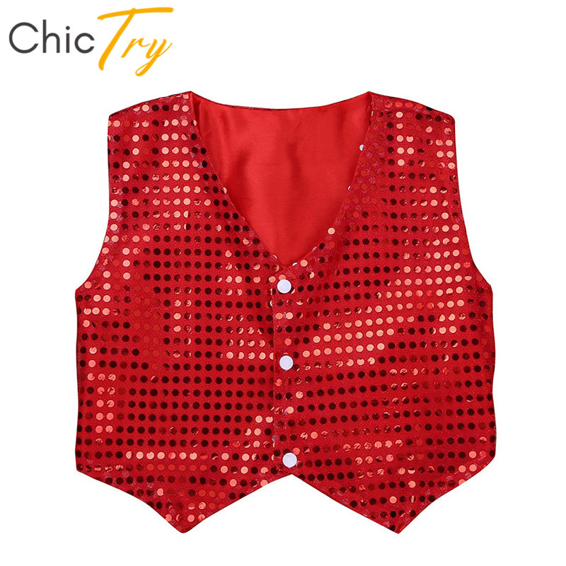 ChicTry Kids Teens Shiny Sequins Stage Dance Wear Vest Waistcoat Children Boys Choir Hiphop Jazz Stage Performance Dance Costume