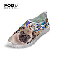 Spring Summer Women Casual Shoes Breathbale Animal Poodle Pug Dog Printed Mesh Shoes Ladies Flats Shoes