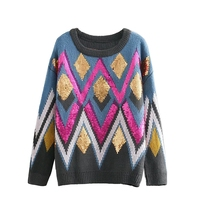 Qooth Women 2019 Summer Sweater and Pullovers Vintage Geomertric Pull Jumpers Argyle Sweet Loose Sweater O neck Top Chic QH1812