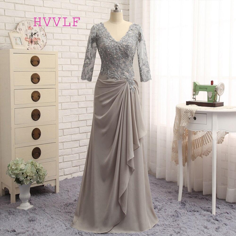 Grande taille gris 2019 mère de la mariée robes a-ligne 3/4 manches en mousseline de soie dentelle robe de mariée mère robes pour mariage