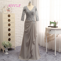 Plus Size Gray 2019 Mother Of The Bride Dresses A line 3/4 Sleeves Chiffon Lace Wedding Party Dress Mother Dresses For Wedding