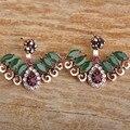 Turco Aretes Para Las Mujeres Resina Verde Doble Cara Cristales Aretes Nupcial Mujeres Bijoux Brinco Pendiente Del Partido de La Vendimia Femenina