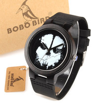 BOBO BIRD WD24 Ebony Wooden Watch for Men Cool Skull Printing Dial Face Quartz Watches accept OEM Drop Shipping(China)