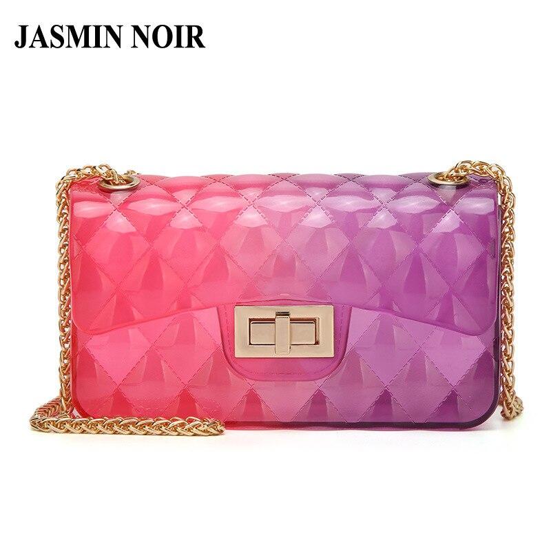 цена на Fashion Transparent Jelly Women Messenger Bag Lady Gradient Ramp Shoulder Bag Chain Brand Small Designer Mini Crossbody Bag