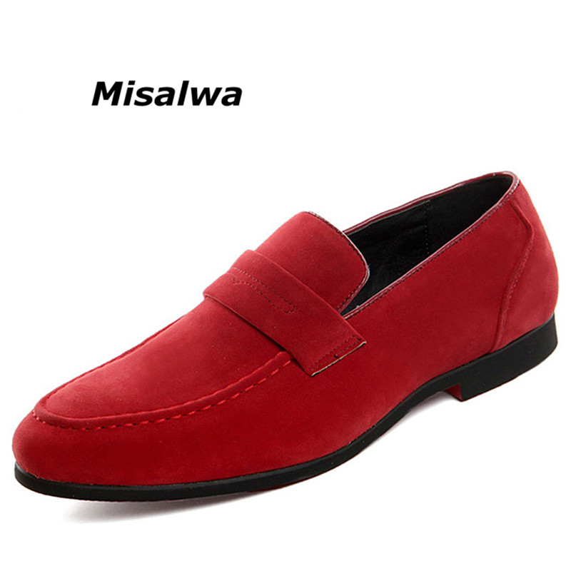 Misalwa Vintage Shoes Men Moccasins Casual Penny Red Loafers Light Slip On Dress Boat Shoes Wedding   Suede     Leather   Flat Shoes Big