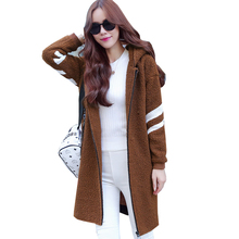 2017 Autumn Winter Lambswool Cotton Ladies within the Lengthy Paragraph Plus Velvet thick Cotton Style Hooded Free Coat tide 5Li26C8