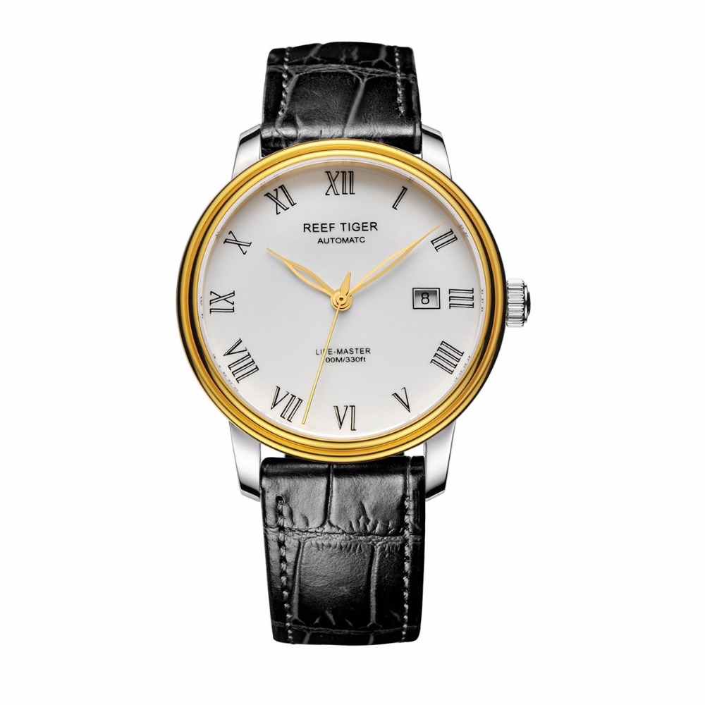 Reef Tiger/RT New Design Business Mens Watches Automatic Watch with Date Steel Yellow Gold Leather Strap Watches RGA812 best selling reef tiger rt classic business watches for men rose gold steel automatic watch with date rga823