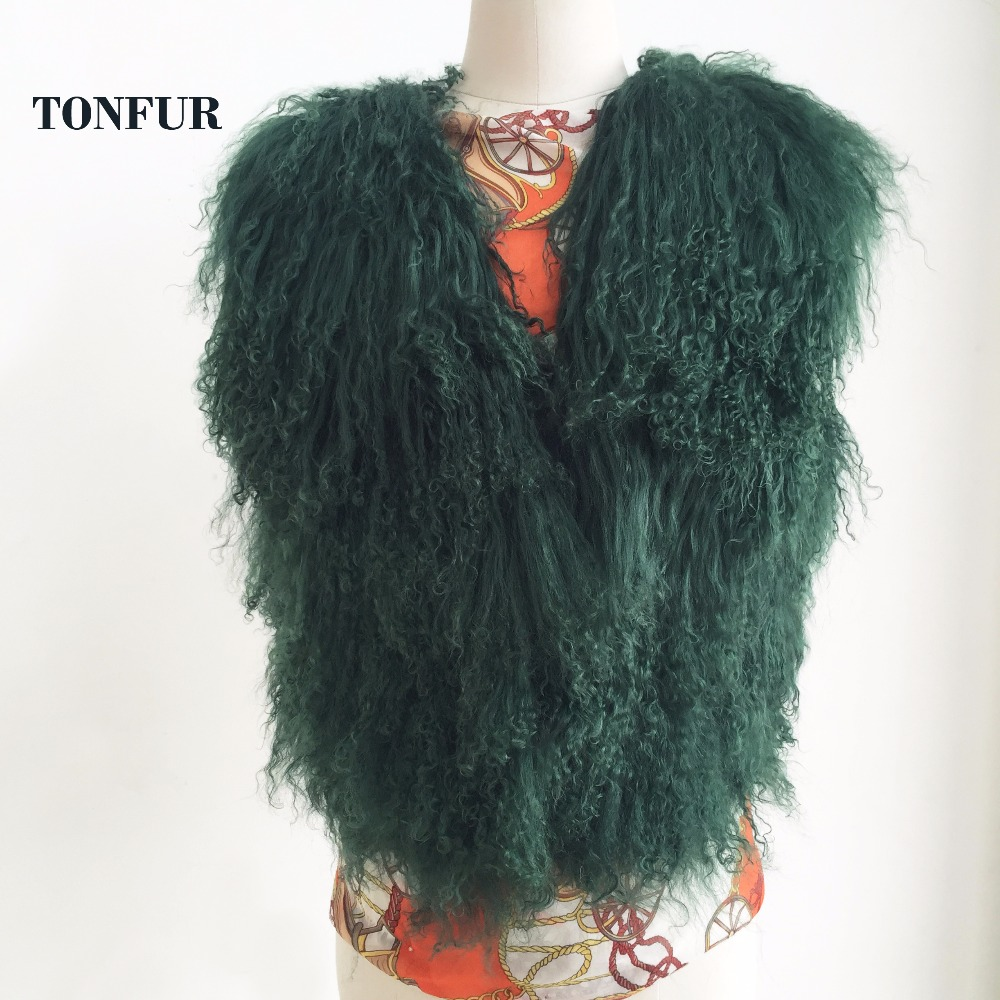 Luxury Long Mongolia Sheep Fur Vest Classical Fashion Trend Design Thick Warm Tan Sheep Fur Jacket