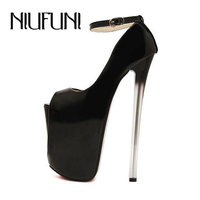 Solid 22CM High Heel Women Pumps 2015 New Arrival Plus Size Women Shoes Buckle Strap Sexy