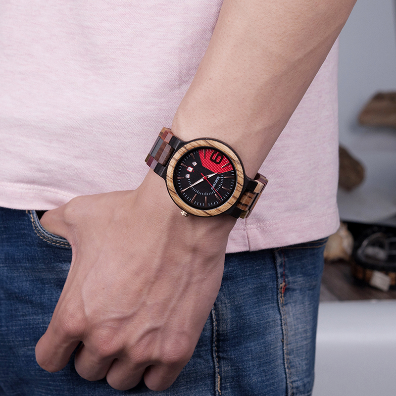 Mixed Wooden Wristwatch, in aWooden Gift Box 4