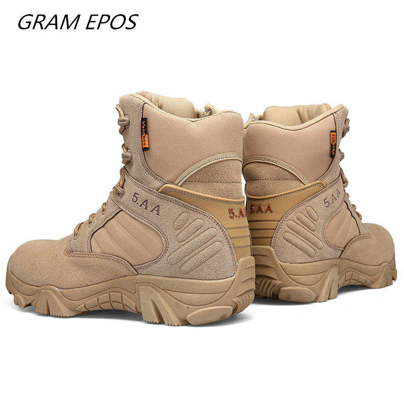 Men Desert Waterproof High Quality Special Force Military Tactical Desert Combat Ankle Boots Army Work Boots Men Hiking Shoes