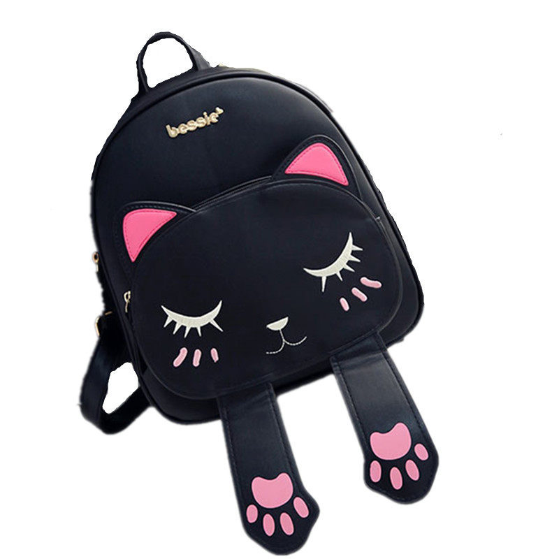 ZHIERNA Hot Brand Lovely Cat Leather Backpacks Women Shoulder Bags School Teenage Girls Travel Laptop Bagpack High Quality