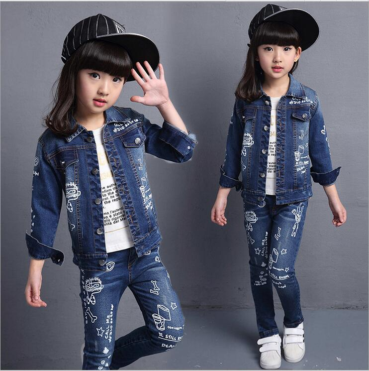 2016 spring child set doodle print denim outerwear skinny pants big boy girls casual twinset  girls clothing set2016 spring child set doodle print denim outerwear skinny pants big boy girls casual twinset  girls clothing set