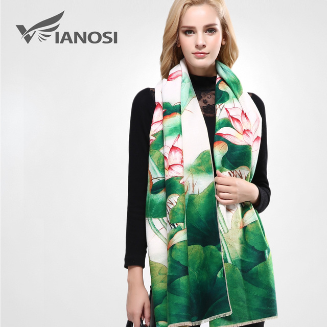 [VIANOSI] Luxury Shawls and Scarves for Women Wool Cashmere Scarf Woman Thicken Warm Wrap Printing Soft Winter Scarf VA061