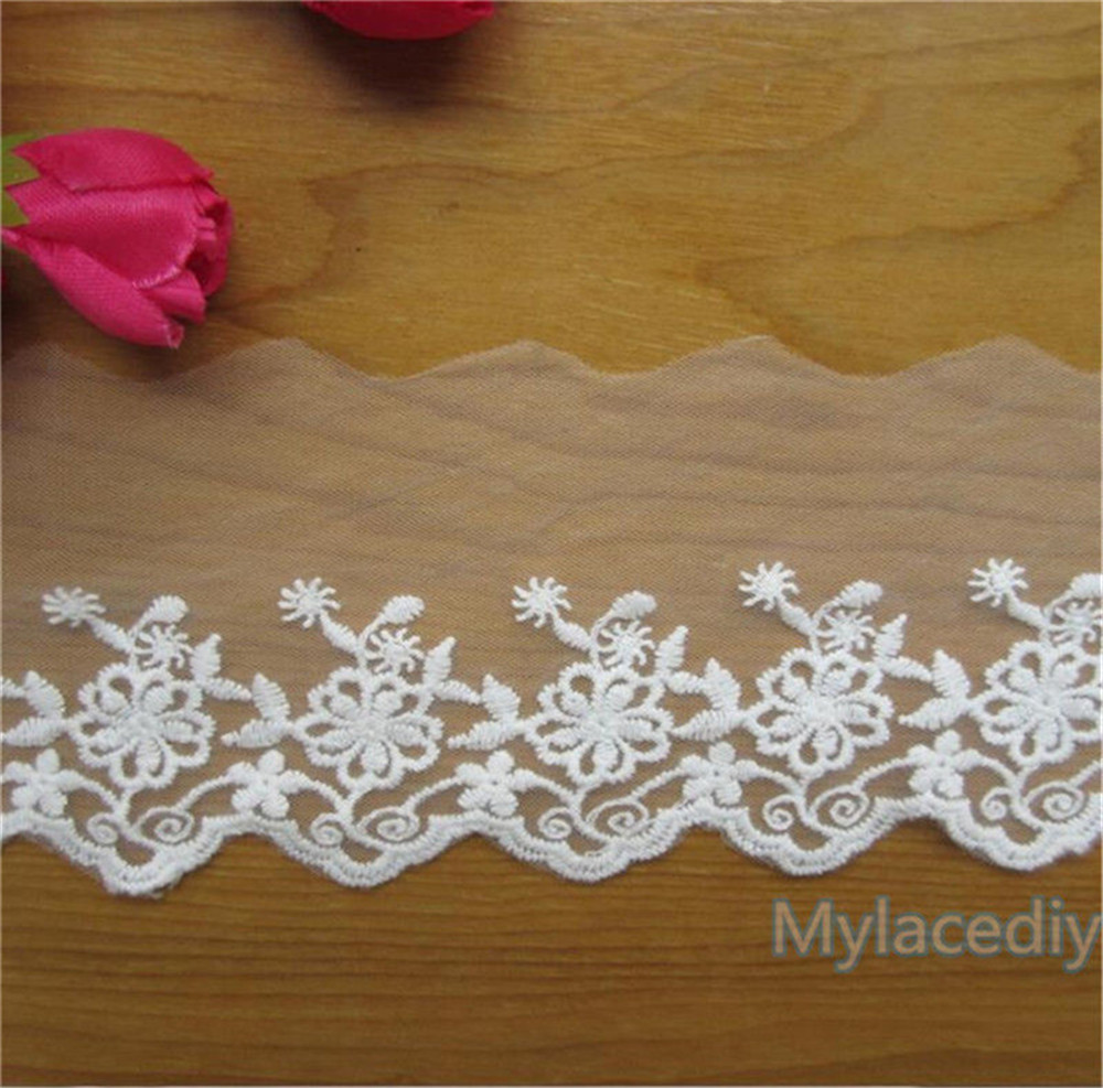 White Lace Heart Design Ribbon 15mm Crafts Decoration Sewing Lace Trim  3 Metres