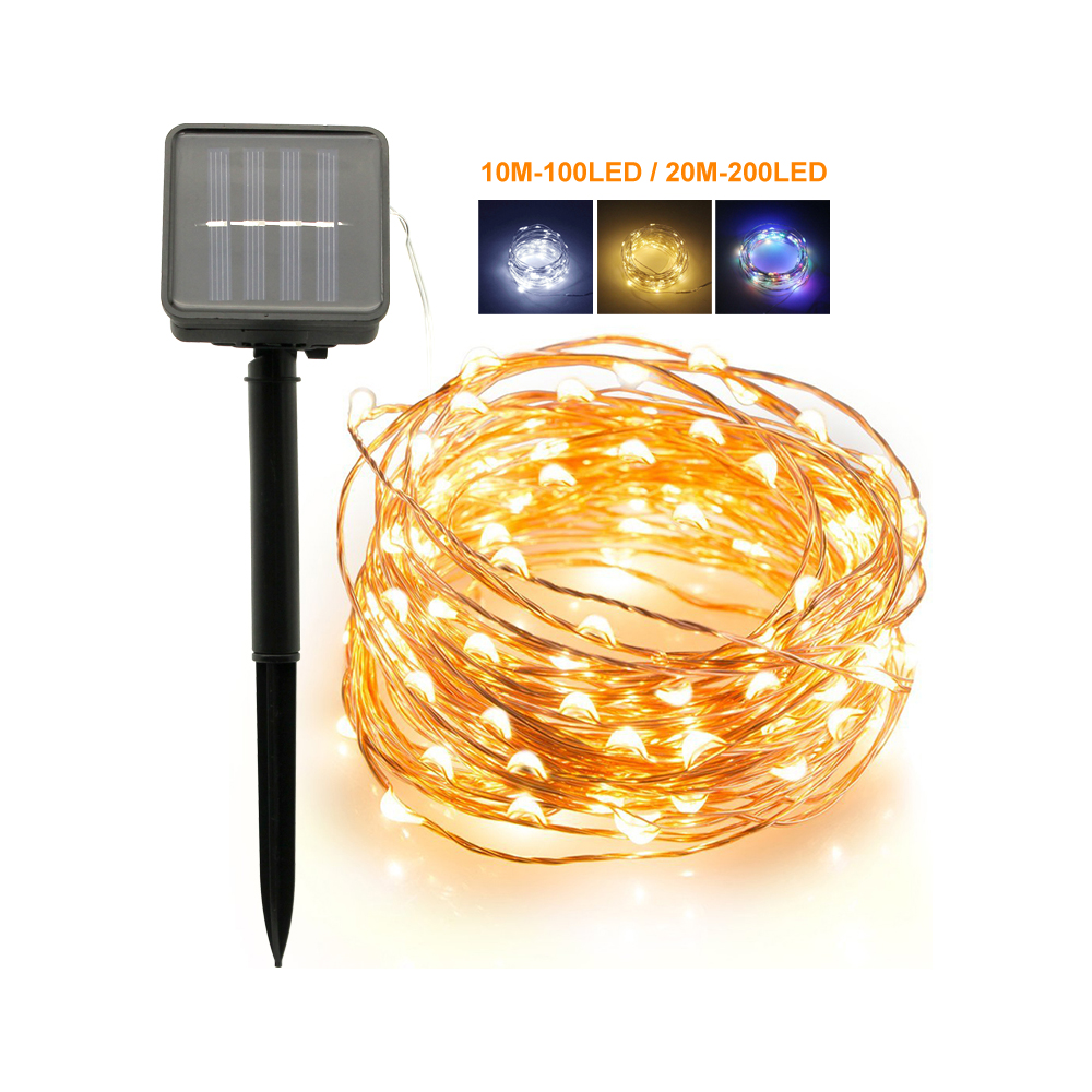 Outdoor 10M 100LEDs 20M 200LEDs Solar LED String Fairy Lights Flash Waterproof For Ramadan Christmas Garden Wedding Decoration